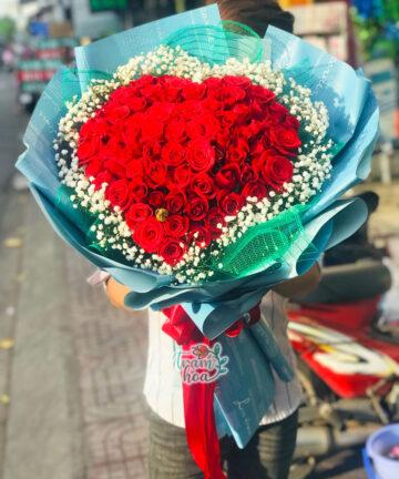 Bó hoa hồng hình trái tim đẹp