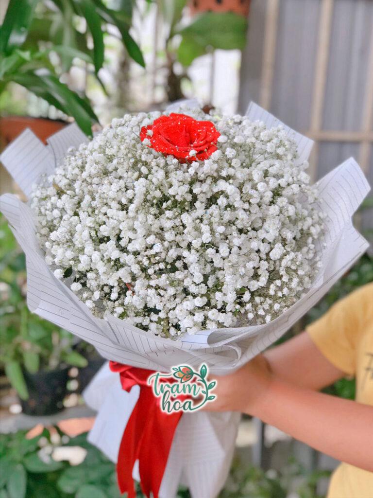 Bó hoa 1 bông hồng đỏ đơn giản đẹp