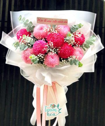 Bó hoa nhập khẩu - cúc mẫu đơn hồng sang trọng