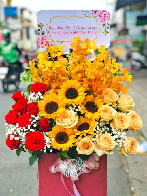 Lẵng hoa để bàn nắng mới