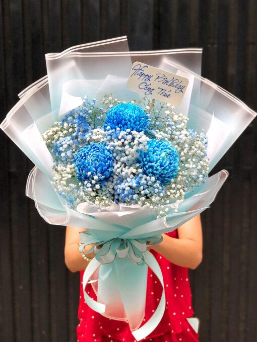 Hoa nhập khẩu - cúc mẫu đơn xanh n010