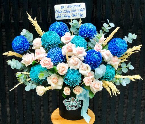 Lẵng hoa cúc mẫu đơn xanh