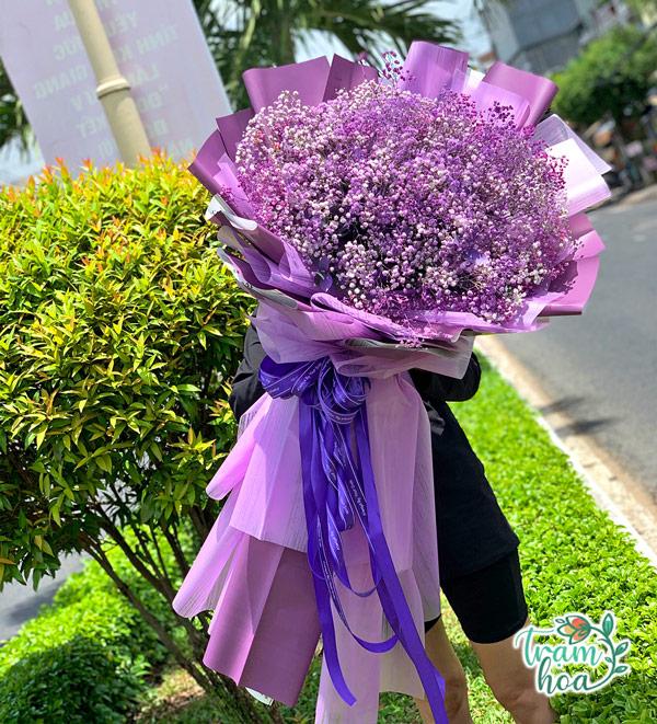 Bó hoa baby khổng lồ màu tím
