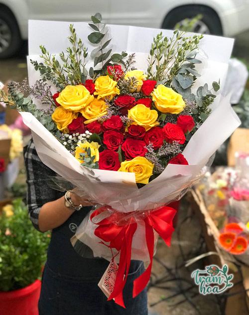 Bó hoa hồng vàng đỏ cảm ơn