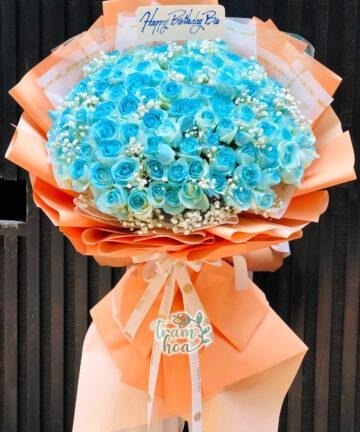 Bó hoa 100 bông hồng màu xanh dương