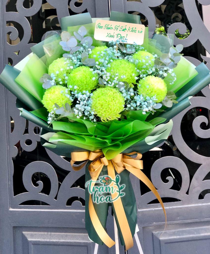 Bó hoa cúc mẫu đơn màu xanh lá