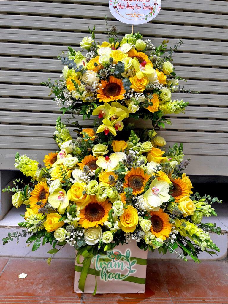 Lẵng hoa để bàn 2 tầng
